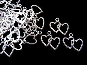 15 Pcs - Tibetan Silver 23mm Double Heart Pendants Charms Jewellery Gift i73