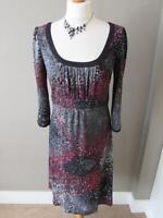 M & S PER UNA Ladies Black Grey Red Jersey Empire Line Tunic Dress Size 10