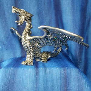 Roaring Dragon Green Crystals Pewter Figurine Fellowship Foundry US Made Limited