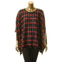 ANNE KLEIN NEW Women's Plaid Wool and Silk Blend Poncho Sweater Top TEDO