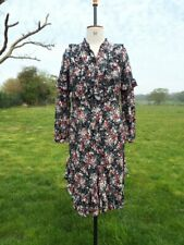 Black Ditsy Floral Ruffle Flounce Peasant Dress TU Size 8 BNWT RRP £22.00