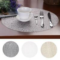 38CM Transparent Crystal Table Mats Non-Slip Plastic Placemat Circle Coasters