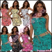 Sexy Ladies Floral Mini Dress Women's Summer Dress + Belt One Size 6,8,10,12 UK