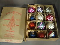 VINTAGE BOX SHINY BRITE STENCILED GLASS CHRISTMAS ORNAMENTS