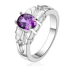 Amethyst Purple Zircon Silver Plated medium ring diameter size 17 mm O  FR187