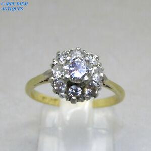BEAUTIFUL 0.60CT DIAMOND SOLID 18K & PLATINUM CLUSTER RING UK SIZE L & USA 5 1/2