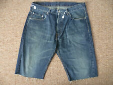 LEVIS 758 RED TAB W34 MENS BLUE REWORKED DENIM SHORTS GOOD CONDITION
