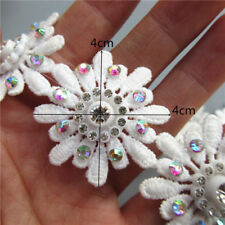 10x White Flower Diamond Lace Edge Trim Ribbon Embroidered Applique Sewing Craft