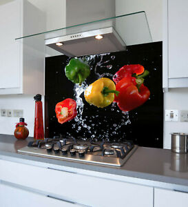Toughened & Heat Resistant Printed Kitchen Glass Splashback - Coloured Peppers