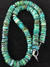 Native American Sterling Silver Turquoise Heishi Necklace Pendant 18""