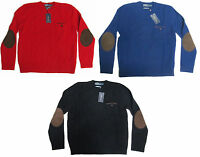 Polo Ralph Lauren Mens Heavy Shetland Slim Fit Wool Angora Knit Leather Sweater