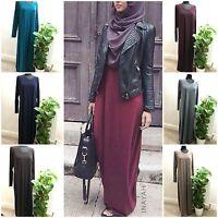Plain Slim Fitted Jersey Abaya /Long Dress Burkha Kaftan Farasha Jilbab Abayas