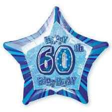 """60TH BIRTHDAY CELEBRATIONS""     60th Glitz Blue 20"" Foil Balloon!"