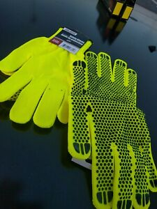 Tool Bench Neon Safety Work Gloves with Non-Slip Grip Dots 2x pairs