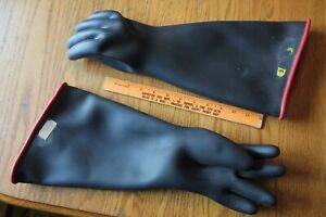 """Gloves Black rubber 18"""" size 9 Large heavy duty industrial chemicals oil solvent"""