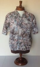 Lilly Dache' Vtg Brown Abstract Polyester Disco Shirt Short Sleeve Mens Xl