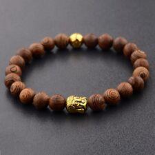 Golden Buddha Beads Sandalwood Wood Beads Reiki Women Men's Bracelets Jewelry
