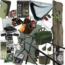 Deluxe Full Carp Fishing 2 Rod Set Reels Alarms Pod Mat Net Bag Tackle Luggage