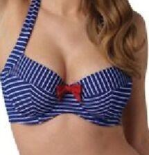 Panache Britt Stripe Non-Padded Bikini Top Navy//White 0922