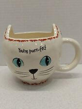 Natural Life Large Cat Mug Ceramic Kitty Cup You're Purr Fect 12 oz