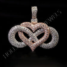 Round Cut 14k Two-Tone Gold Over Sim Dia Infinity heart Customize Pendant Unisex