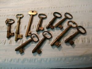 RARE 10 Old Orig. Large Antique Brass Skeleton Keys Jail-Prison Keys 1890's #51D