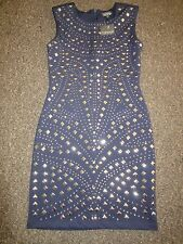 BNWT UK 8 TopShop Dress Navy Blue Silver Stud Sequins Bodycon Xmas Party US 4