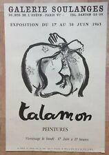 TALAMON 1963 AFFICHE ORIGINALE EXPOSITION GALERIE SOULANGES PARIS
