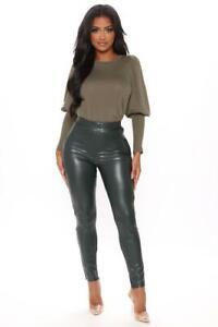 Fashion Nova Green Faux Leather Skinny Pants High Waisted Womens Sz Large L