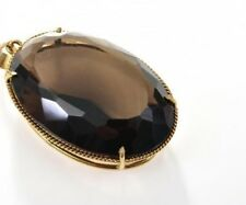 14k solid yellow gold impressive smoky quartz pendant 17.95g