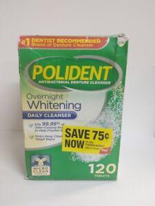 Polident Overnight Whitening Antibacterial Denture Cleanser, 120 Tablets Damaged