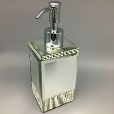 BELLA LUX Mirror Rhinestone Stripe Liquid Soap Pump Dispenser Bathroom Accessory