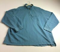 Eddie Bauer Men Long Sleeve ¼ Zip Pullover Sweater 2XL XXL Blue Organic Cotton