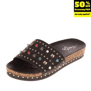 CRISTIN Slide Sandals EU 41 UK 8 US 11 Grainy Studded Embellished Cork Outsole