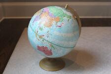 "Vintage 12"" Globemaster World Globe Topographical Metal Base Raised Topography"