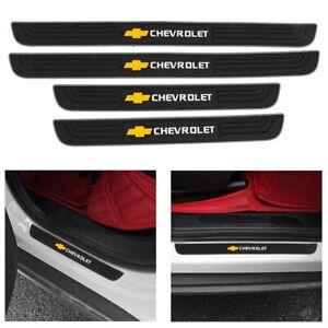 CHEVROLET Silver Border Rubber Door Scuff Sill Cover Panel Step Protector 4PCS