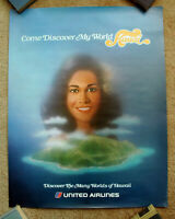 Vintage Original 1970s UNITED AIRLINE HAWAII Kauai Travel Poster railway art air