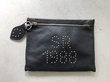 SISSI ROSSI borsa POCHETTE pelle BLU borchie VINTAGE 1988 leather REDWALL purse