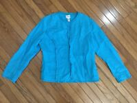 Chicos Women's Teal Linen Light Jacket Button Down Top Blouse Size 1