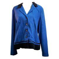 R&K Womens Blazer Blue Black Notch Lapel Long Sleeve Buttons Stretch Jacket 14