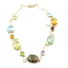 14K Yellow Gold Gemstone Necklace With Multi-Shaped Gemstones 24 Inches