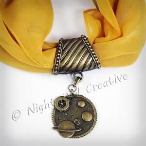 Handmade Scarf Ring, Scarf Clip Pendant Antique Bronze Steampunk Celestial Retro