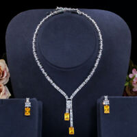 CWWZircons African Cubic Zirconia Bridal Wedding Necklace Earrings Jewelry Sets