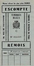 AA122 REIMS ancien petit carnet collector de ESCOMPTE REMOIS Timbres Bleus