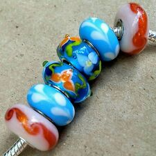 6P Blue White Orange Hawian 3D Flowers Single Core Murano Glass European Beads