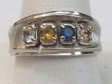 10K White Gold Jewelry Ring Band Mothers Children's Birthstones & DIAMOND