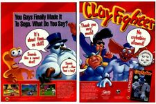 Original 1994 CLAYFIGHTER Sega Genesis video game two-page magazine print ad
