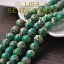 30pcs 8mm Round Natural Stone Loose Gemstone Beads Green Imperial Jasper