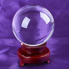 "LONGWIN 120mm 4.72"" D Clear Quartz Crystal Ball Sphere Photo Props Wood Stand"