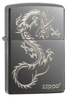 Zippo Chinese Dragon Design  Black Ice Windproof Pocket Lighter, 49030